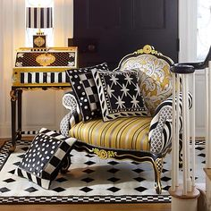 Pull it all together with color combinations from the MacKenzie-Childs palette. The thread-covered wooden Black & White Bibelot Tassel features poly/rayon silks and bead embellishments. Black Color Palette, Queen, Furniture Collection, Seasonal Decor, Home Furnishings, Accent Chairs, Upholstery, Armchair, Indoor