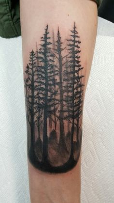 Homeward Bound Tattoo. Port Washington, WI. Thanks Pete! ❤ #trees #treetattoo #pinetrees #pinetreetattoos #tattoo
