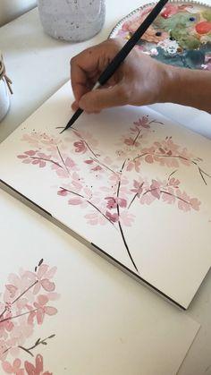 Watercolor Beginner, Watercolor Art Lessons, Watercolour Tutorials, Watercolor Techniques, Watercolor Paintings, Flower Art Drawing, Beginner Art, Aesthetic Painting, Diy Canvas Art