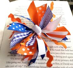 Orange and Blue Hair Bow by LaleePops82 on Etsy