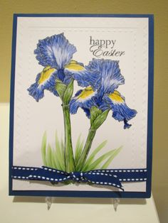 Accidentally stamped irises onto box making card stock, but the stroke marks from the Copics created a different look!