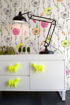 DIY handles on drawers neon yellow