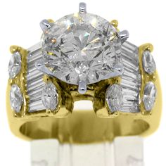 Jewelry Masters : 5.45 Carat Round & Baguette Diamond Engagement Ring [4447-BY] - $40,000.00$19,995.00