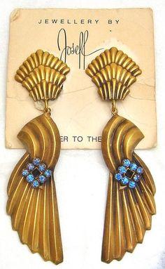 Joseff of Hollywood Fan Shaped Rhinestone Long Drop Earrings | eBay