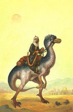 A desert nomad riding a giant lizard.