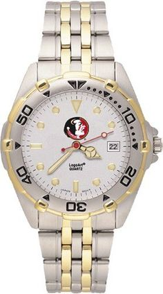 Florida State Seminoles Men's All Star Watch Stainless Steel Bracelet by Logo Art. $69.99. Miyota quartz movement (377 battery). Officially licensed two-tone team logo watch. Brushed chrome finish brass case, two-tone roating top ring and screw-down back with two-tone stainless steel bracelet. Limited lifetime warranty. Case is 1 5/8-Inch wide, dial diameter 1-Inch. NCAA Florida State Seminoles Men's All Star Watch Stainless Steel Bracelet