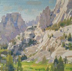 Mike Hernandez   High Sierra Meadows Mt Whiney 6x6 gouache Gouache Painting, Watercolor Paintings, Painting Art, Watercolors, Landscape Paintings, Landscapes, Art Google, Creative Art, Scenery