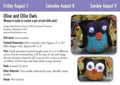 There are a variety of crochet patterns in the crochet calendar including a pair of cute owls.