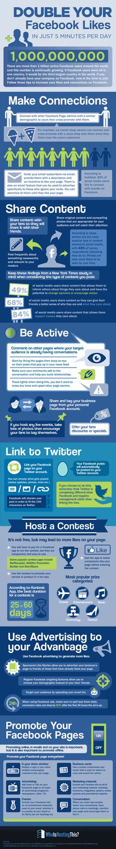 Want to double your Facebook Likes? There are some really terrific tips on this Facebook infographic. Repin or print this to refer to often!