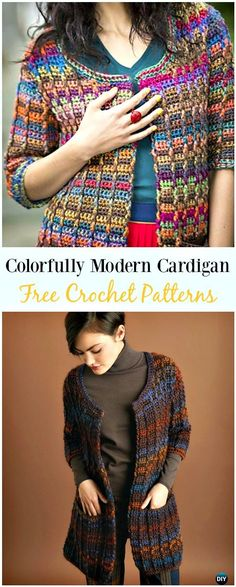 Crochet Colorfully Modern Cardigan Free Pattern - #Crochet; Women Sweater Coat & #Cardigan; Free Patterns