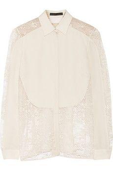 Elie Saab Lace-paneled silk crepe de chine blouse | NET-A-PORTER, peasant style