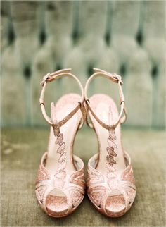 Rose gold wedding shoes. These would look great if I had a tea-length dress =)