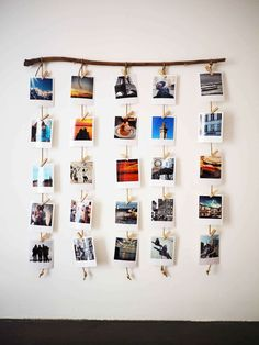 A wooden branch for hanging Polaroids, a decorative DIY canon! - P H O T O - Deco Home Hanging Polaroids, Hanging Photos, Wall Photos, Photo Hanging, Displaying Photos On Wall, Photo Polaroid, Polaroid Wall, Polaroid Crafts, Polaroid Display