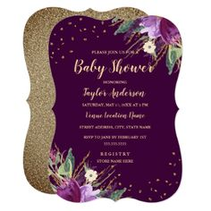 Watercolor Gold Purple Flower Baby Shower Card - purple floral style gifts flower flowers diy customize unique