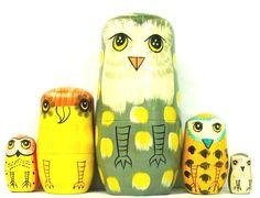 "Owls Russian Nesting Dolls 5-1/2"" Three Day Sale! by BottledArtShop on Etsy https://www.etsy.com/listing/199604048/owls-russian-nesting-dolls-5-12-three"