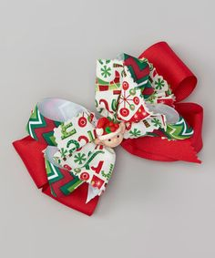 Look what I found on #zulily! Red Elf Bow Clip #zulilyfinds