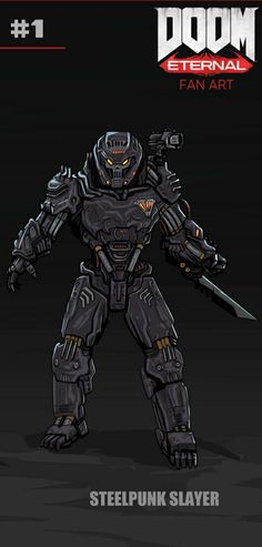 Armor Concept, Concept Art, Doom Game, Dnd Characters, Fictional Characters, Sci Fi Armor, Gamer Humor, Robot, Slayer Anime