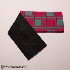 Hanhaba Obi Rose fuchsia motif carré kitsuke