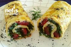 Peynirli Dereotlu Domatesli Omlet Sarma