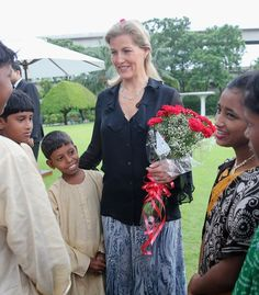 Sophie, Countess of Wessex meets schoolchildren during a welcome at the ITC Sonar Kolkata Hotel on day 1 of her visit to India with the Charity ORBIS 18 Sept Viscount Severn, Lady Louise Windsor, Orbis, Visit India, Royal Engagement, Prince Edward, Pictures Of The Week, Charity, Kolkata