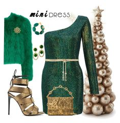 """Holiday mini mini dress"" by ellenfischerbeauty ❤ liked on Polyvore featuring Alexander McQueen, Chanel, Kenneth Jay Lane, Ariella, Valentino, Michael Kors and Tom Ford"