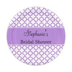 Lavender Quatrefoil Pattern Bridal Shower Paper Plate