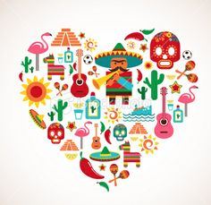 Mexico love - heart with set of vector icons Royalty Free Stock Vector Art Illustration