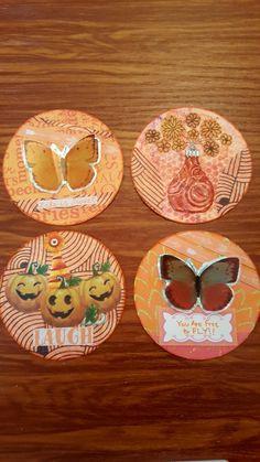 ATC Artist Trading Coins, by Kae. Cork Art, Artist Trading Cards, Tim Burton, Atc, Minions, Coins, Miniatures, Orange, Painting