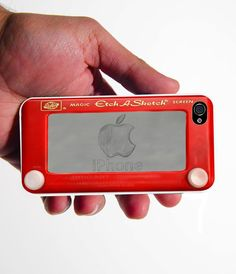 iPhone 4 Case etch a sketch design with apple by TheStudioApparel, $15.00