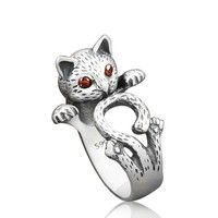 Wish | 2016 New Fashion Summer Style Hippie Vintage Anel Punk Kitty Wedding Ring Boho Chic Brass Knuckle Animal Cat Rings  (Color: Silver)