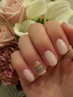 Neutral nail color with stones