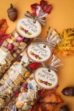 Fall Trail Mix with printable tags.