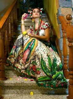 Our Lady of Guadalupe~Mexican dress Mexican American, American Women, Mexican Folk Art, Mexican Style, Mexican Fashion, Ethnic Fashion, Spanish Fashion, High Fashion, Mexican Heritage
