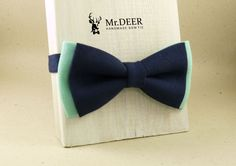 Mint and Blue Bow Tie - Ready Tied Bow Tie - Adult Bow Tie - Mens bowtie - Groomsman, Wedding Bow Tie - Gift for Him - Mr.DEER by MrDEERbowtie on Etsy