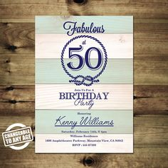 Nautical 50th Birthday Invitation  Adult by PapierMignonID on Etsy