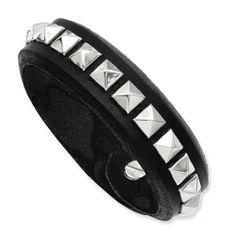 "Stainless Steel Black Leather w/Studs 9in Adjustable Bracelet Length 9"" Jewelry Adviser Bracelets. $44.50"