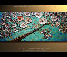 Oil Painting on canvas Blooming Tree PALETTE KNIFE original