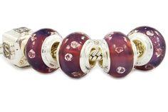 glass beads with zirconia melted into transparent lilac. Pandora Glass Beads, Glass Jewelry, Pandora Compatible Charms, Cheap Pandora, Buy Jewellery Online, Custom Charms, Pandora Bracelet Charms, Lilac, Purple