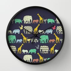 geo zoo Wall Clock by Sharon Turner | Society6 #art  #design #awesome #print  #poster  #color  #cool  #gift  #gift #ideas  #hipster  #funny  #Illustration  #threadless  #drawing  #girls  #beautiful #humor