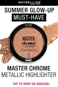 Glow all out with the Maybelline Master Chrome Highlighter in 'molten gold'! This shimmery highlighter will give you a glow like no other, add it as your inner corner highlight, top of cheekbones, collarbones and get ready to glow up!