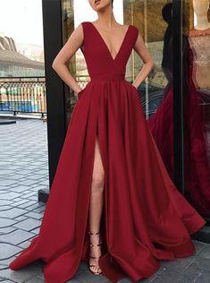 Custom Made A Line V Neck Red Prom Dress with High Slit, Red Formal Dresses, Graduation Dresses Red Formal Dresses, Split Prom Dresses, Prom Dresses With Pockets, Straps Prom Dresses, V Neck Prom Dresses, Sexy Dresses, Evening Dresses, Beautiful Dresses, Homecoming Dresses