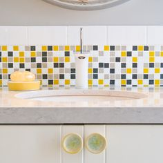 Possible backsplash for our gray & yellow bath?... :)