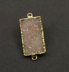 Dazzling Druzy Triangle Connector Earth Tones Double by Beadspoint