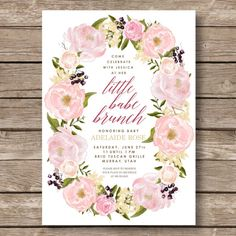 Elegant Floral Baby Shower Digital Invitation by OliveandBirch