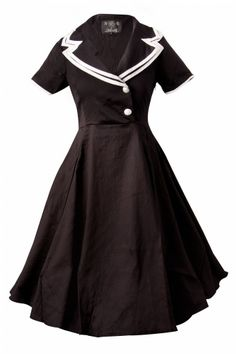 Collectif Clothing - 50s Rhonda Doll Sailor black swing dress