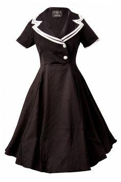 Collectif Clothing - 50s Rhonda Doll Sailor black swing dress