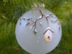 painted bird houses pictures | ... tree ornament, bird houses, cardinal, hand painted on frosted glass