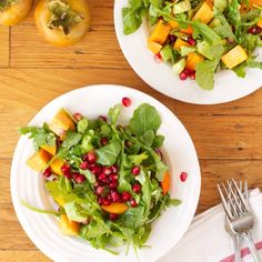 Persimmon, Pomegranate Seed & Avocado Salad - a fresh, crisp, slightly sweet Fall salad that comes together in 3 easy steps.