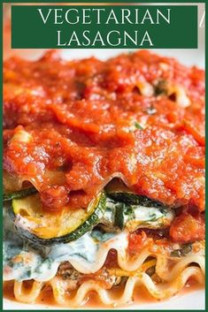 Vegetarian Lasagna with grilled veggiesis a hearty dinner recipe #lasagna #vegetarian #dinner #comfortfood Vegetarian Lasagna Recipe, Vegetarian Comfort Food, Best Vegetarian Recipes, Healthy Comfort Food, Best Dinner Recipes, Healthy Dessert Recipes, Healthy Eating, Vegetarian Options, Vegetarian Meals