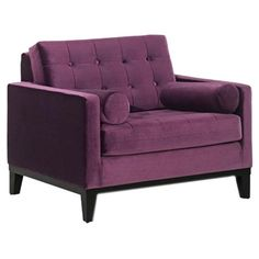 $494.95: A handsome addition to your parlor or living room, this purple velvet arm chair showcases classic tufted upholstery and accent bolster pillows.